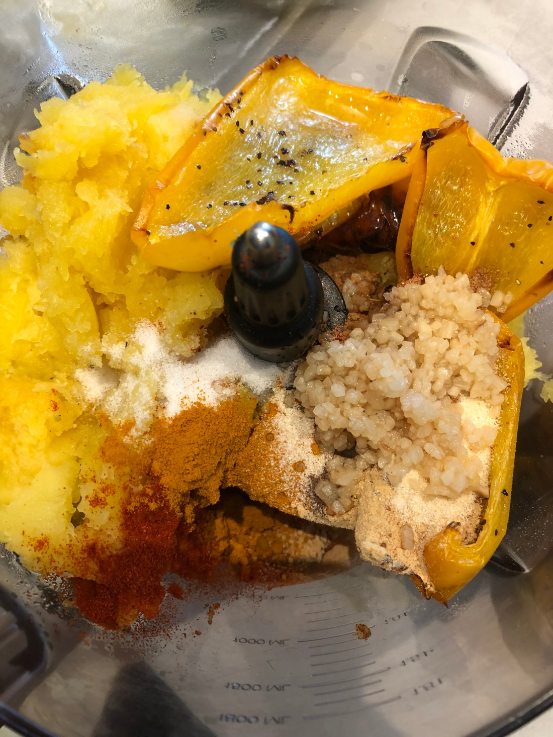 roasted squash in processor